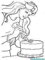 Mewarnai Barbie Membuat Kue Ulang Tahun