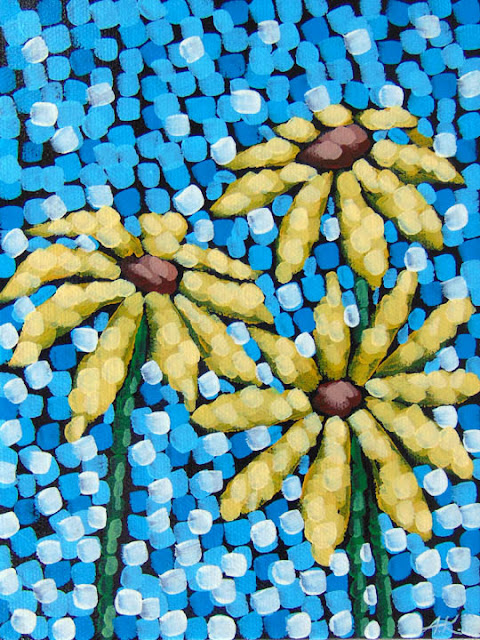 black eyed susans, acrylic on canvas by aaron kloss artist, pointillism