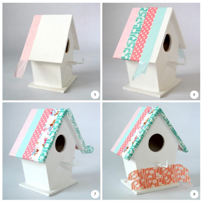 Bird house key hooks steps 5 to 8