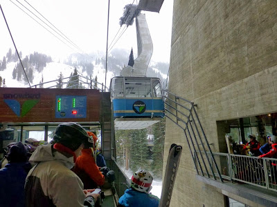 Boarding Snowbird's tram, Feb 22, 2014.  The Saratoga Skier and Hiker, first-hand accounts of adventures in the Adirondacks and beyond, and Gore Mountain ski blog.