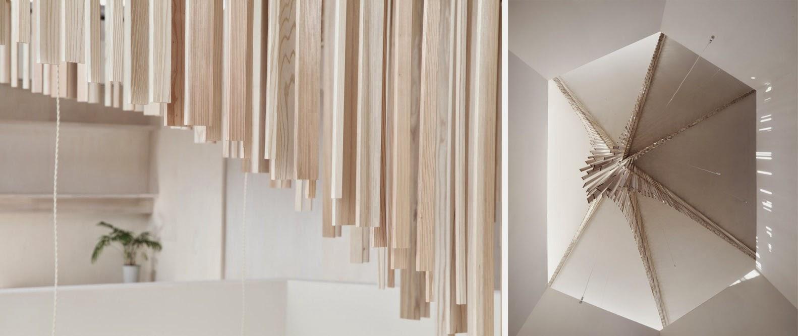 Estalactitas de madera a modo de celosia espacios en madera for Celosias en madera