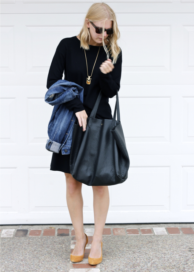 Shae Roderick, black sweater, denim jacket, black tote, outfit