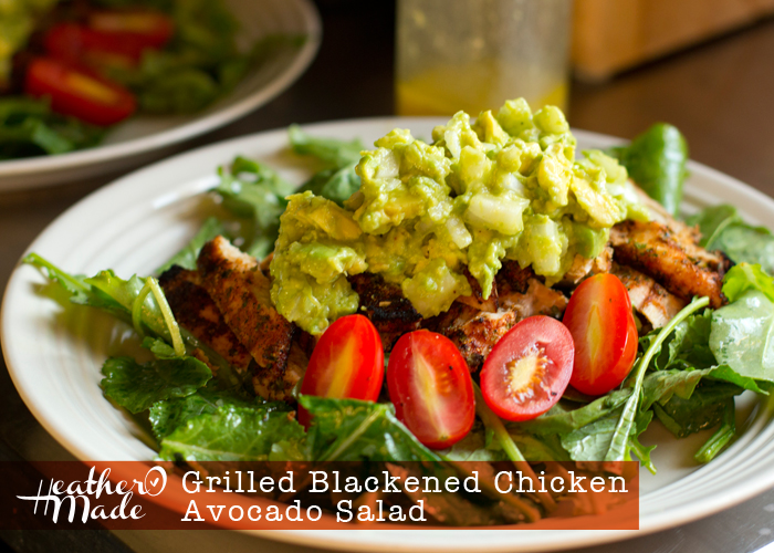 Grilled Blackened Chicken Avocado Salad. recipe. heatheromade.