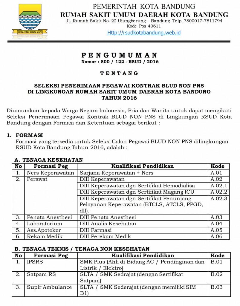 Lowongan Kerja Non PNS RSUD Kota Bandung Tahun 2016
