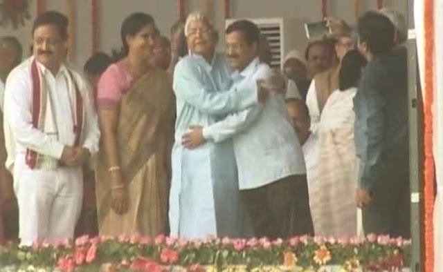 Delhi Chief Minister Arvind Kejriwal clarified on Monday that it was the RJD chief Lalu Prasad Yadav, who had hugged him, and not the other way round.  Many of his detractors, including Yogendra Yadav and Shanti Bhushan, have criticised Kejriwal for the hug and show with Lalu at patna. Delhi BJP has also put out posters showing photos of Kejriwal hugging Lalu.