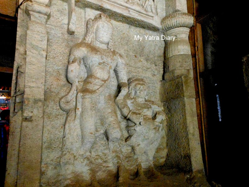Lord Shivagana sculpture  at the Jogeshwari caves during Shravan, Mumbai