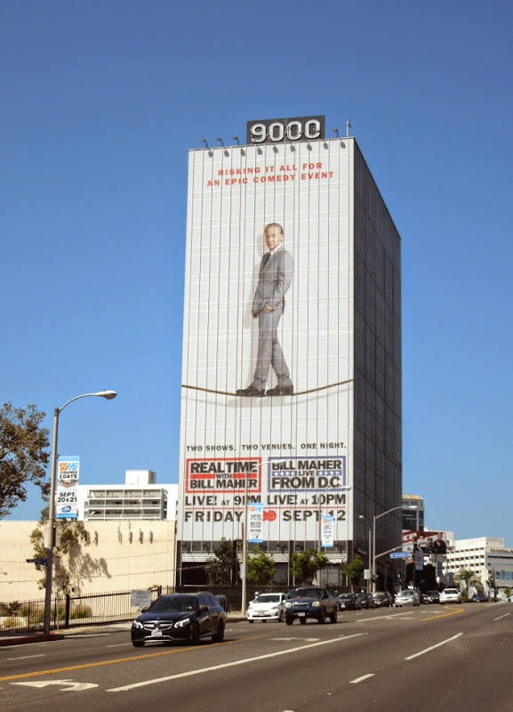 Giant Real Time Bill Maher tightrope billboard