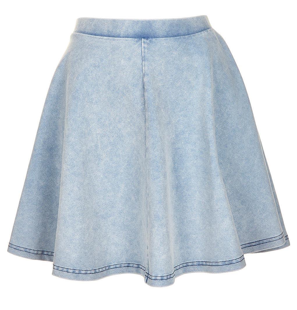 mango orangie denim skater skirt with inner shorts