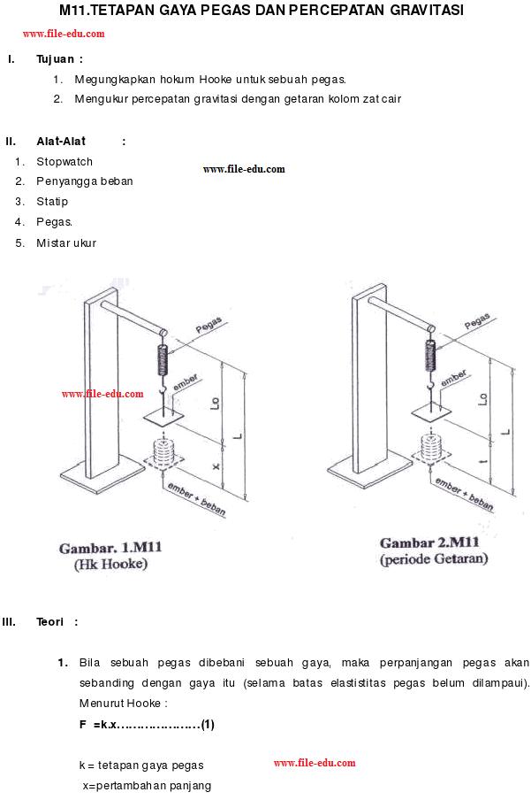 Praktikum Tetapan Pegas Dan Percepatan Gravitasi Alsen Saloka Blog S