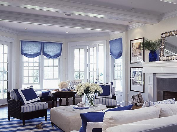 Blue And White Living Rooms : New Home Interior Design: Blue Living Room