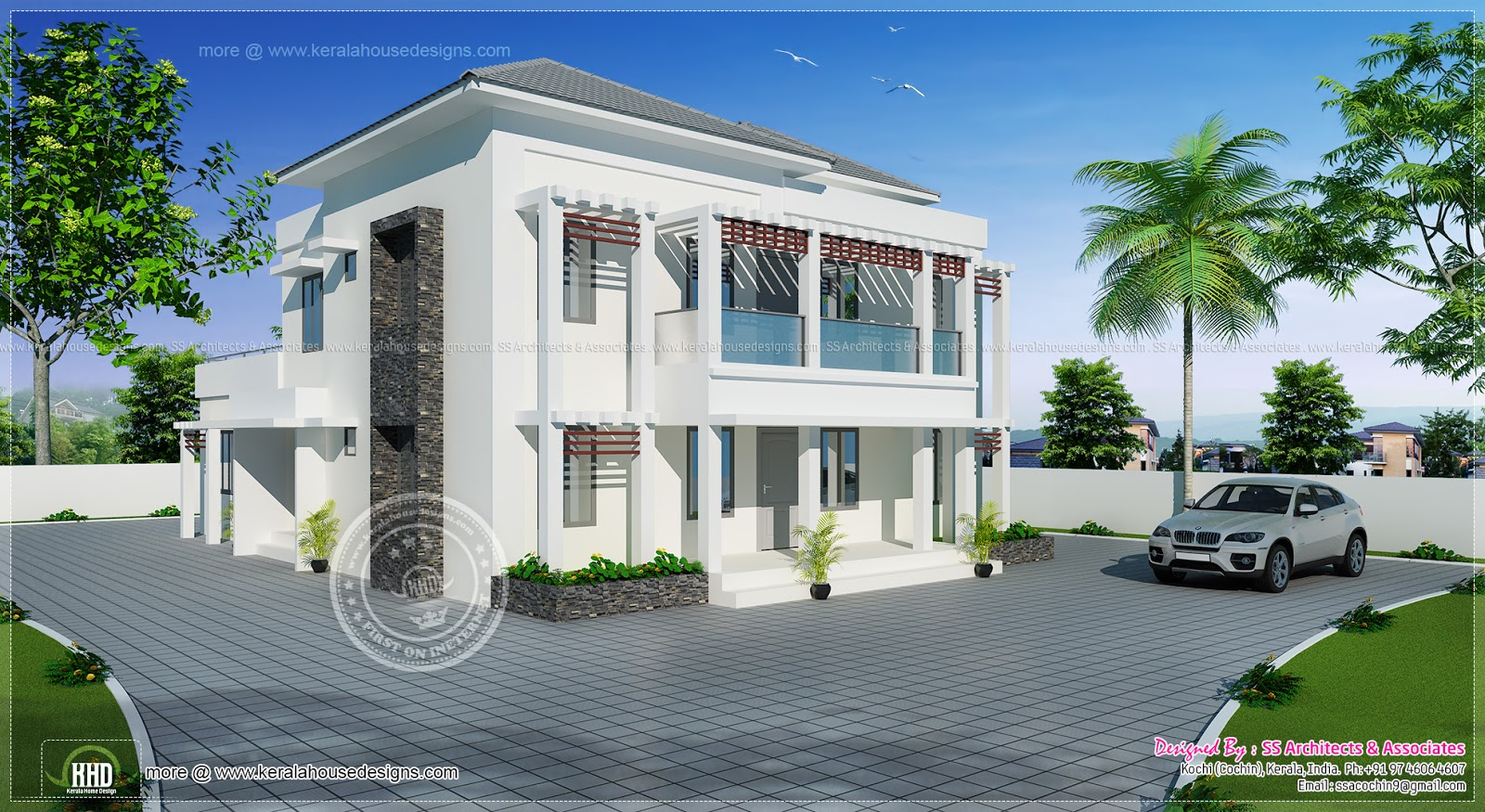 2890 square feet villa in modern style home kerala plans for Modern square house