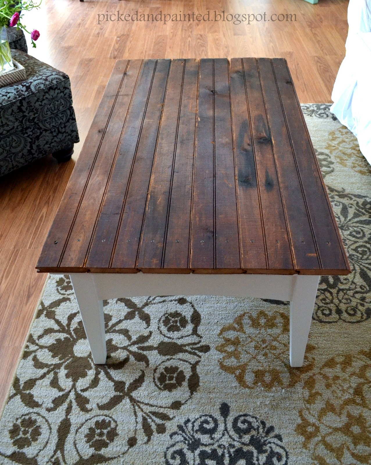 helen nichole designs barn wood coffee table living room makeover part 1 - Barn Board Coffee Tables
