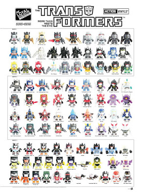 San Diego Comic-Con 2015 Exclusive Transformers Action Vinyls Mini Figure Blind Box Series Checklist Poster by The Loyal Subjects