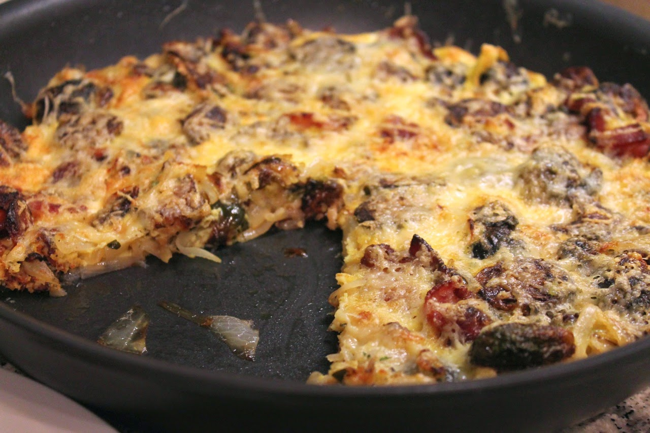 Bacon, Brussels Sprouts and Caramelized Onion Frittata