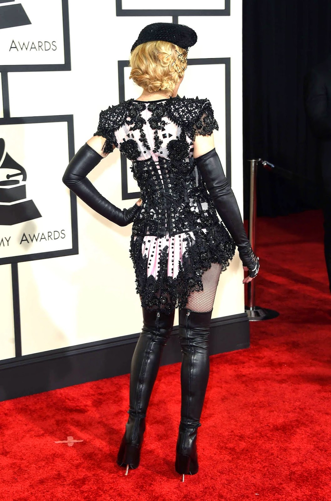 Madonna wears a burlesque inspired Givenchy dress to the 2015 Grammy Awards in LA