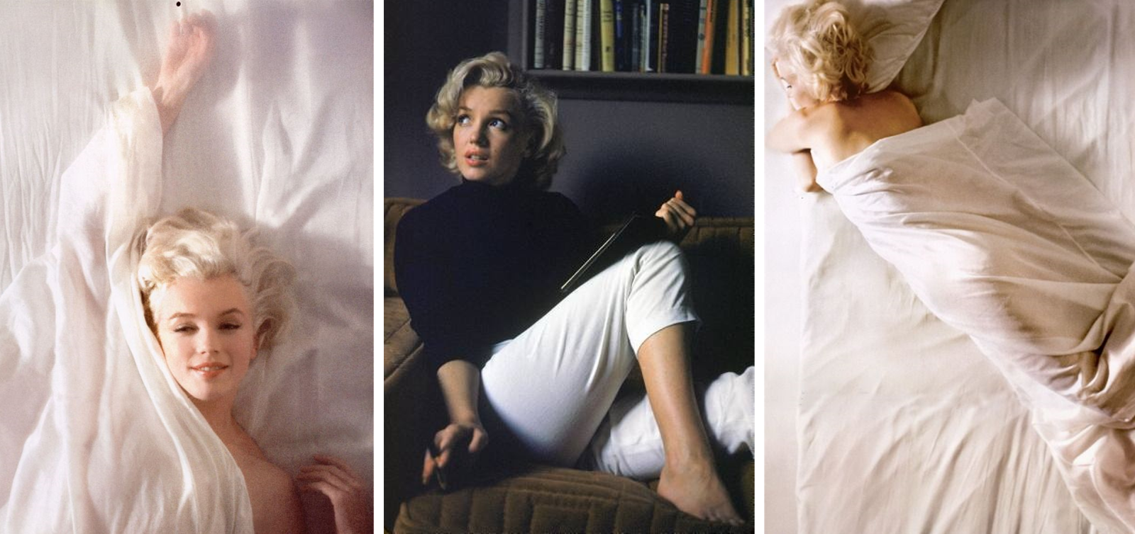Pictures of Marilyn Monroe in bed and reading.