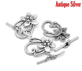 Antique Silver Tone Flower Toggle Clasps