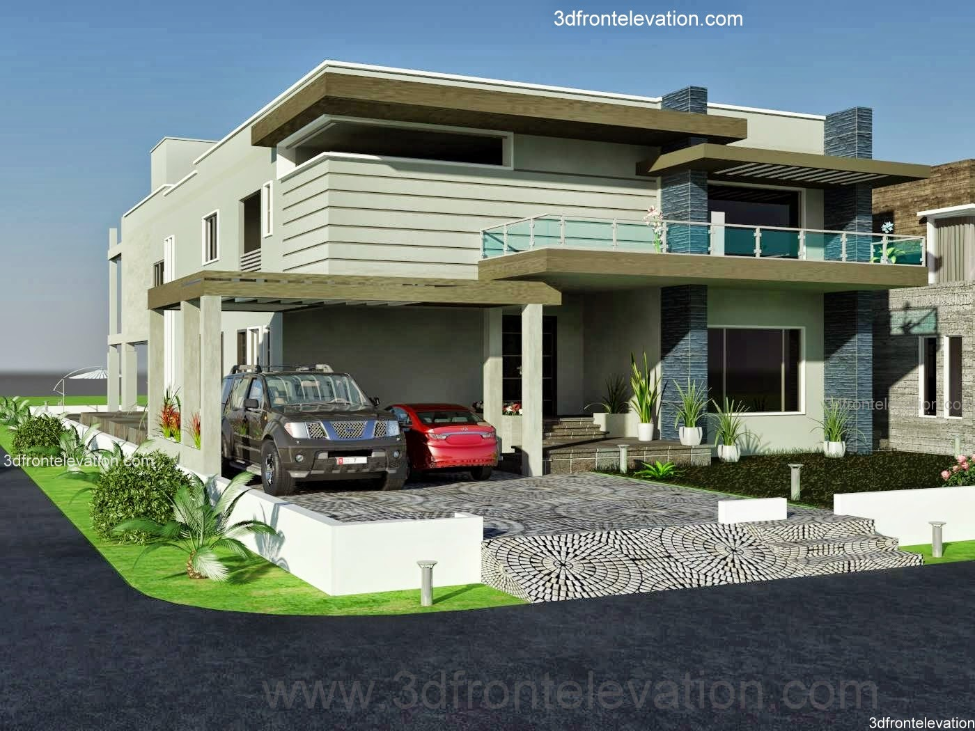 Front Elevation Designs In Karachi : D front elevation kanal dha karachi modern