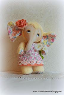 Слон. Текстильная игрушка. Плюшевый слон.