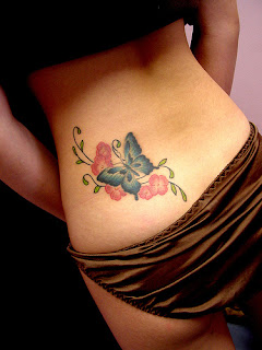 Body Art - Butterfly Tattoo with Flowers