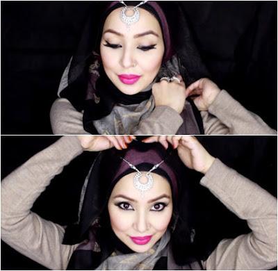 Tutorial Hijab Pesta (Fatiha Rouf) Kombinasi dengan Kalung