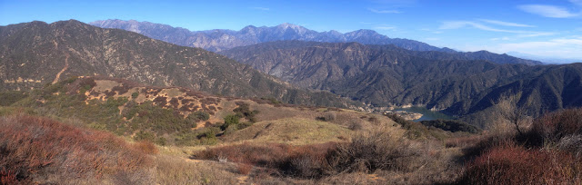 Panorama north to east from the ridgeline of Summit 2843 separating San Gabriel and Roberts canyons, Angeles National Forest