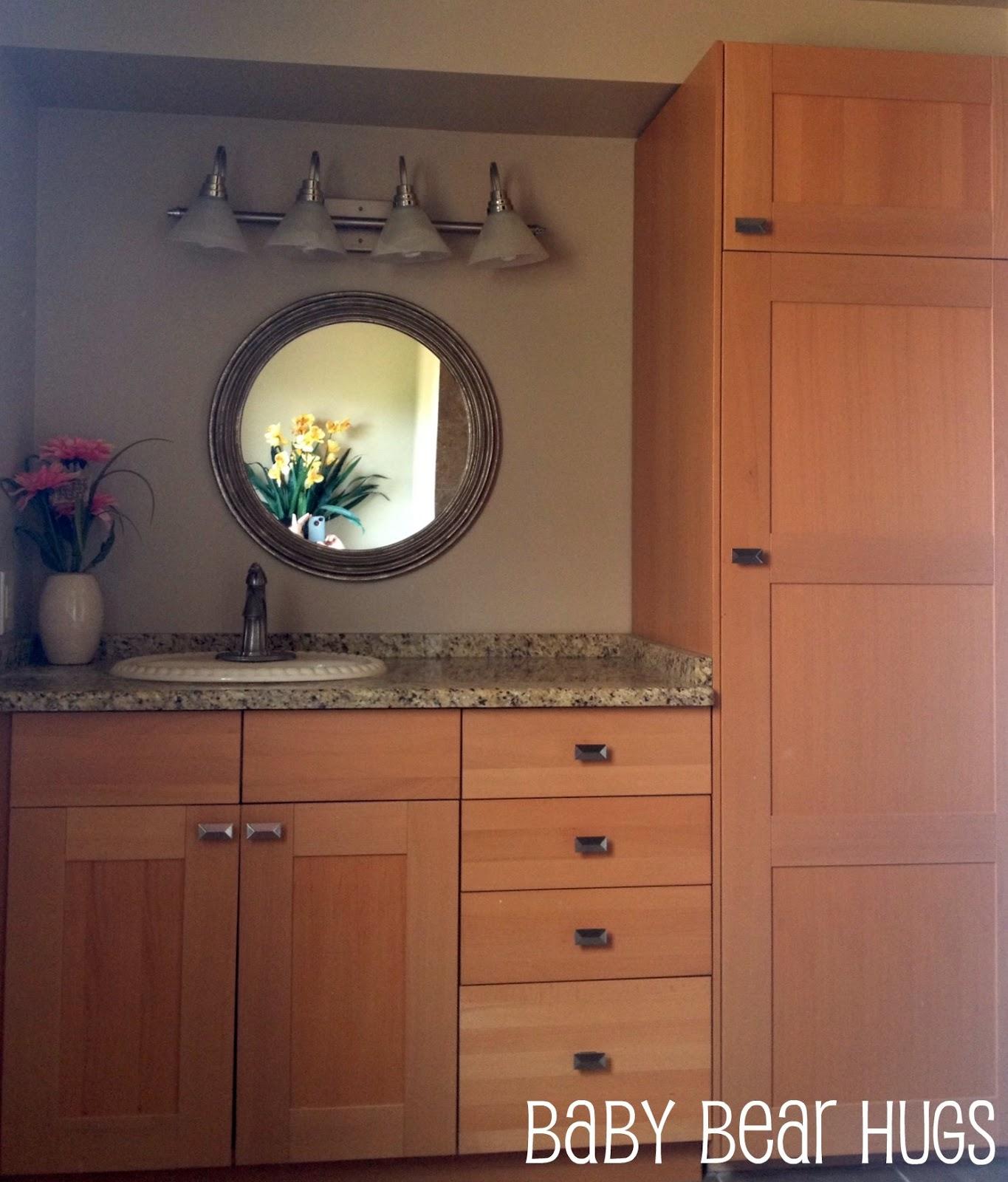 Baby bear hugs bathroom ikea hack - Ikea floating bathroom vanity using kitchen cabinets ...