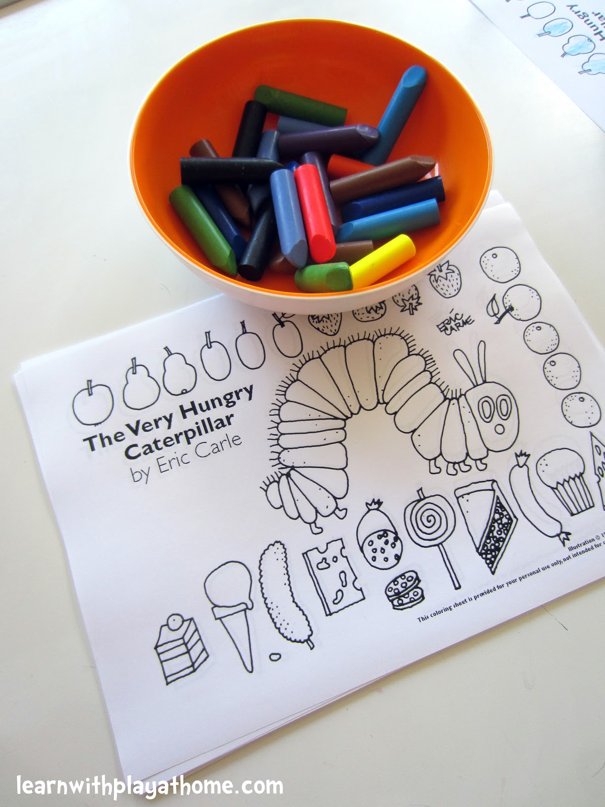 learn with play at home very hungry caterpillar party activity