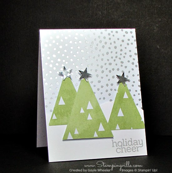 Quick + easy Christmas cards with trendy triangle trees | Stampingville #cardmaking #papercrafts #Christmas #StampinUp
