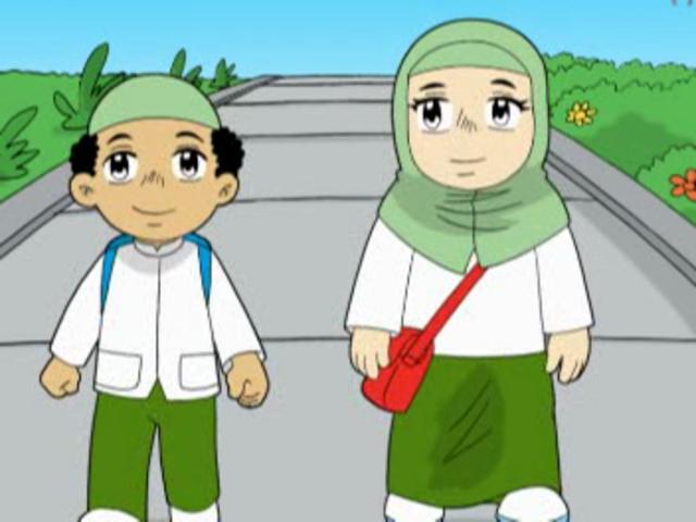 Aminah dan Ahmad berjalan ke sekolah.