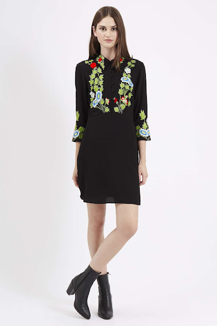 topshop embroidered black dress, flower embroidered dress,