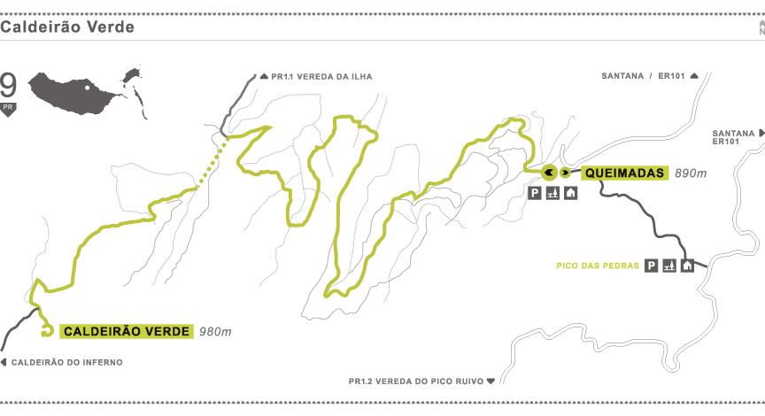 Caldeirão Verde Queimadas Map Mapas do Inferno Madeira Santana Trilhos Caminhadas
