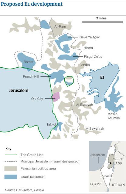 Mapa- Colonias israelenses ilegais - área E1