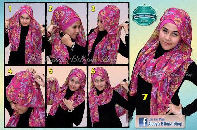 Cara Memakai Jilbab Pashmina Bunga Belang Pinky