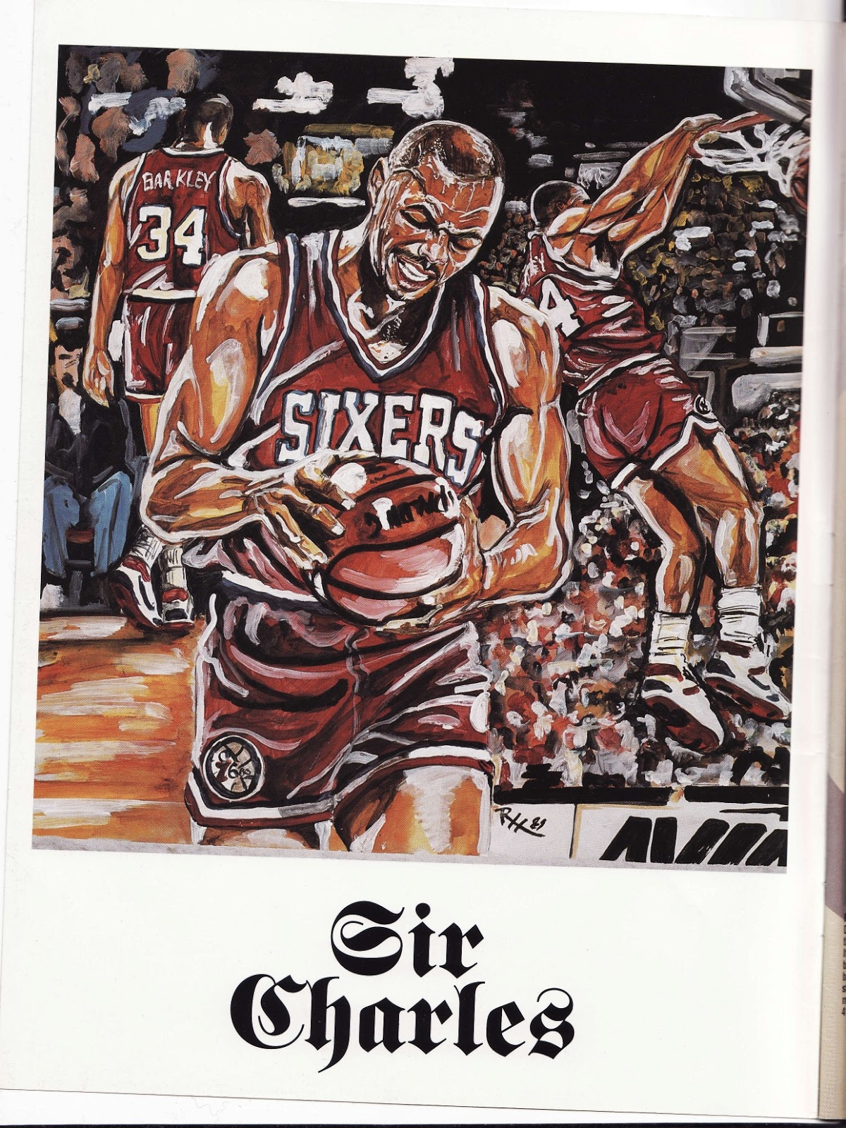 Charles Barkley painting from Beckett Basketball Monthly