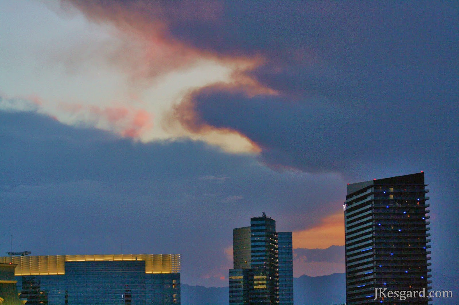 Las Vegas sunset with color and smoke