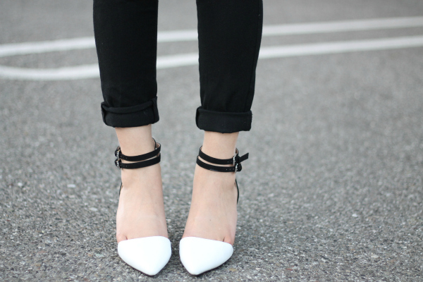 white zara heels outfit
