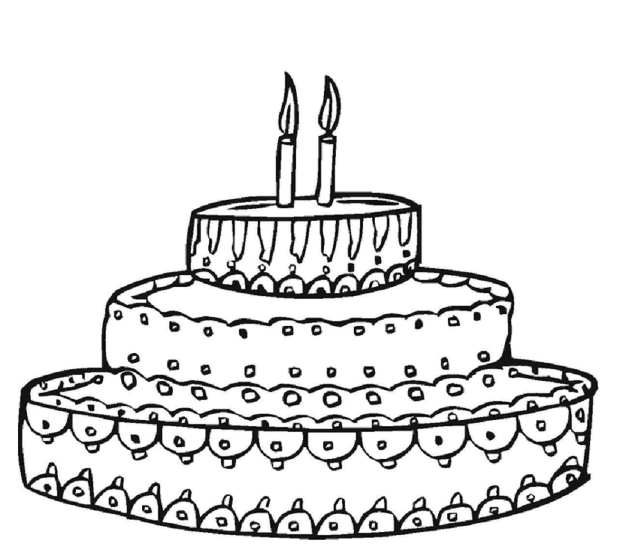 Birthday Cake Printable Coloring Drawing Free wallpaper