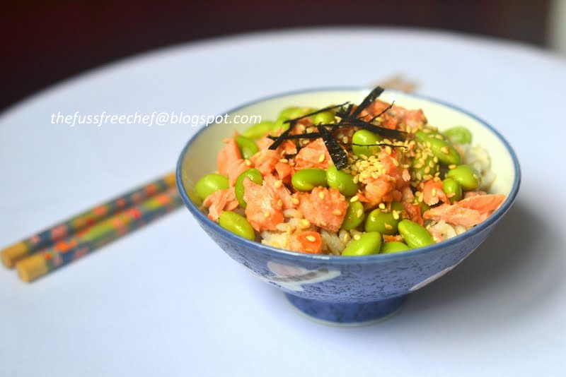 ... FUSS FREE chef: One Pot Meals Part 3 - Salmon and Edamame Fried Rice