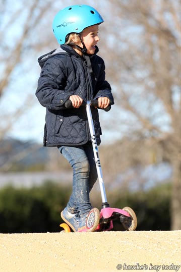Millie Skidmore, 5, Havelock North, school holiday fun at Hawke's Bay BMX Club, Romanes Park, Romanes Drive, Havelock North. photograph