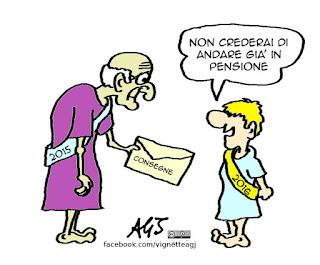 pensioni, auguri, buon anno, umorismo, satira vignetta