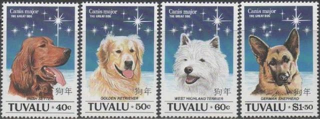 1994年ツバル アイリッシュ・セター ゴールデン・レトリーバー ウエスト・ハイランド・ホワイト・テリア ジャーマン・シェパードの切手