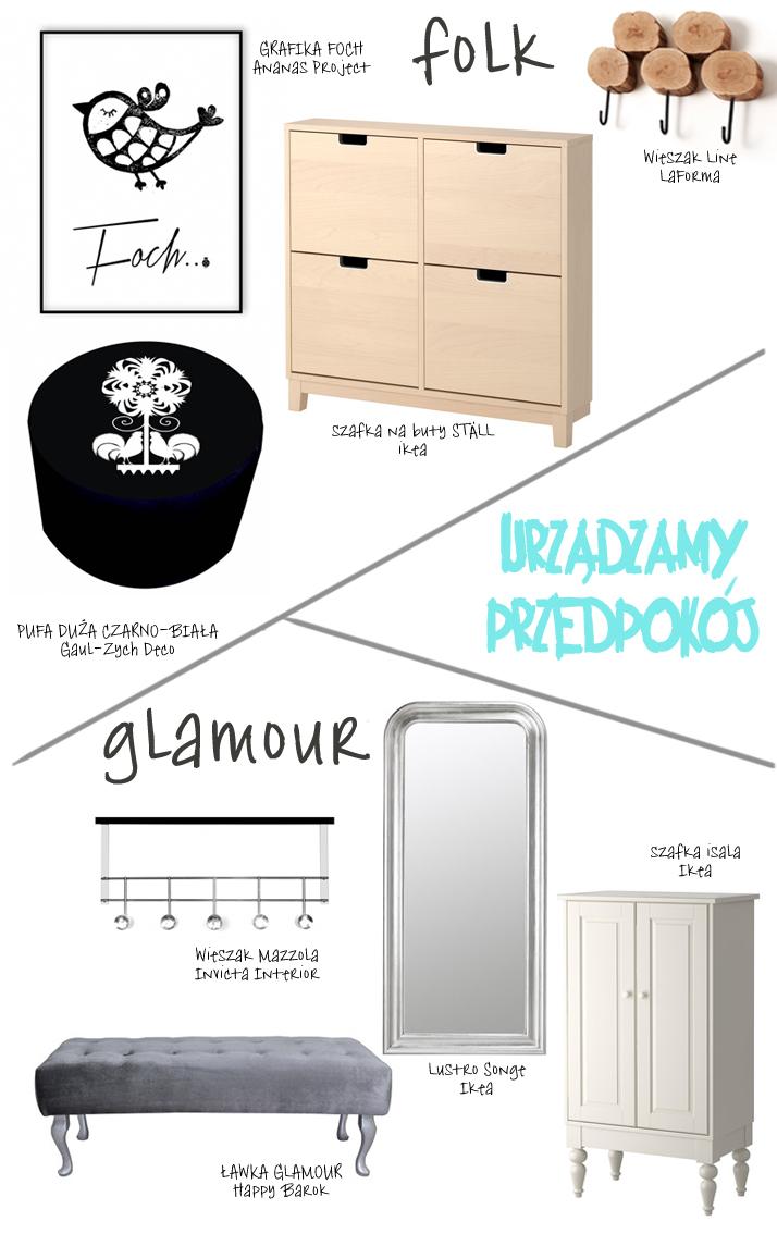 Dacon-Design-architekt-przedpokoj-wiszak-lawka-oswietlenie-plakat-grafika-szafa-lustro-folk-glamour