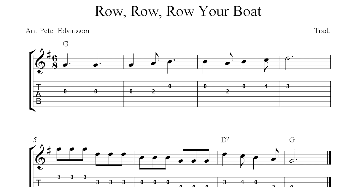 Row, Row, Row Your Boat, easy free guitar sheet music and tabs