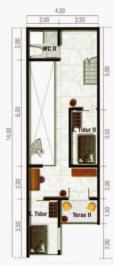 Rumah Minimalis Lebar 5 Meter Denah Rumah Minimalis 4 Meter