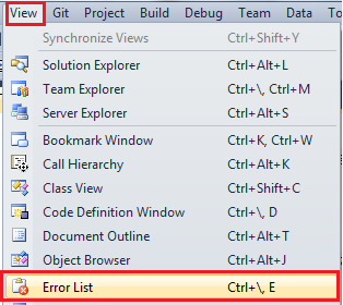 Error List on Visual Studio 2010 Menu