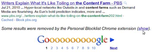 SEO e estensione di Google per blocco delle pagine
