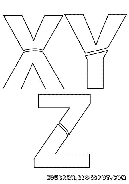Modelo de letras para cartaz x y z