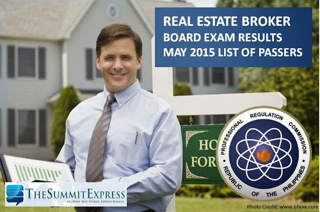 List of Passers: May 2015 Real Estate Broker board exam results