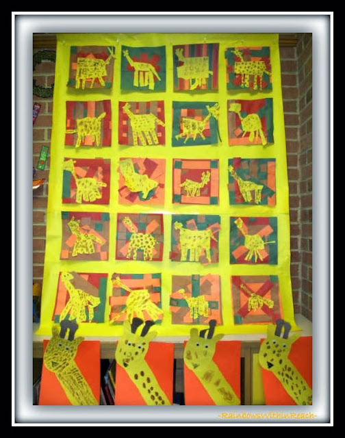 """Kindergarten Art Projects in Response to Debbie Clement's picture book, """"Tall Giraffe"""""""